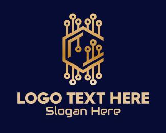 Processor - Bronze Tech Letter C logo design