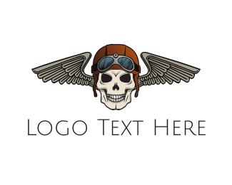 Gang - Pilot Skull logo design