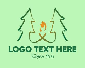 Conifer - Pine Tree Forest Camp logo design