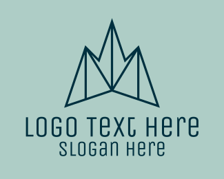 Travel - Blue Symmetrical Mountain logo design