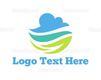 Eco Energy - Cloud & Leaves logo design