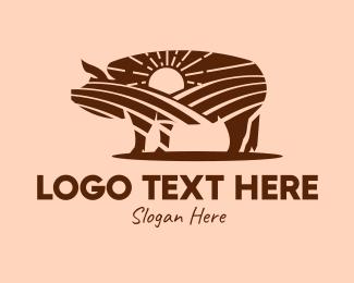 Pork - Sunrise Pig Farm logo design
