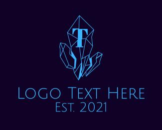 Precious - Blue Crystal Line Art logo design