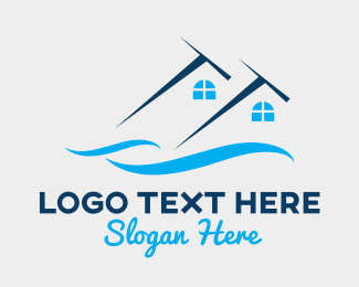 Beach Resort - Blue House Wave Resort logo design