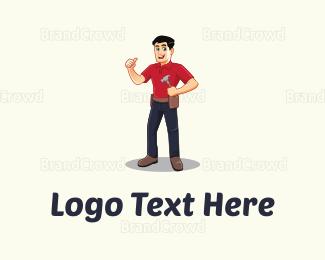 Caricature - Handyman Cartoon logo design
