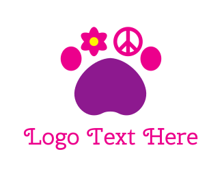 Peace - Hippie Paw logo design