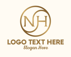 Management - Gold Metallic Letter NH logo design