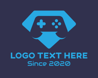 Video Game Controller - Blue Gamer Diamond logo design