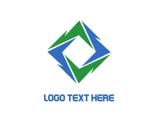 Lightning Bolt - Green Blue Vortex logo design