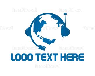 Call Center - Global Communication logo design