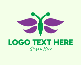 Fairy - Purple Butterfly Insect logo design