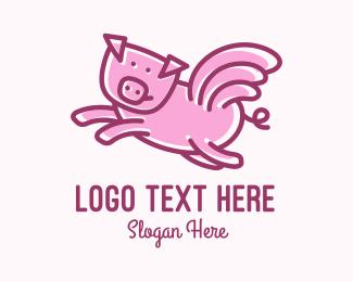 Hog Raising - Pink Pig Wings  logo design