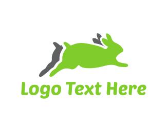Speed - Running Green Rabbits logo design