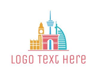 Dubai - Travel Landmarks logo design