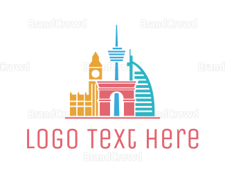 England - Travel Landmarks logo design