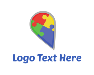 Pin - Puzzle Pin logo design