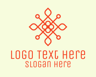 Emblem - Orange Flower Emblem logo design