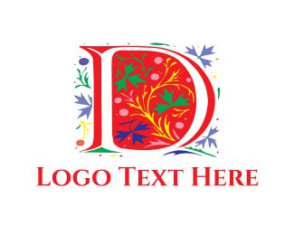 Darwin - Floral Letter D logo design