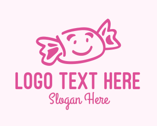Confectioner - Cute Pink Happy Candy logo design