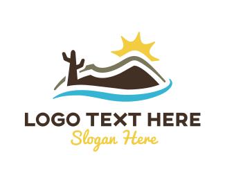 Wild West - Minimalist Desert Outline logo design
