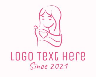 Rights - Pink Feminine Flag Woman logo design
