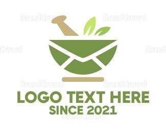 Herbal - Mail Leaves logo design