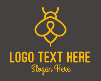 Bee Farm - Yellow Monoline Bee  logo design