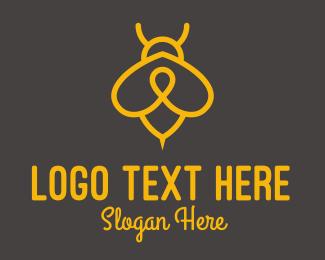 Beekeeping - Yellow Monoline Bee  logo design