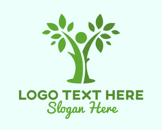 Human Tree - Green  Human  logo design