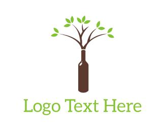 Brown - Wine Tree logo design