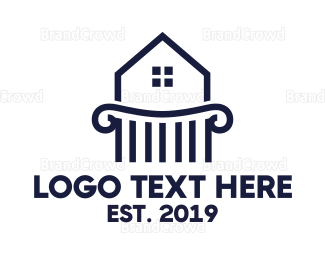 Mansion - Blue Pillar House logo design