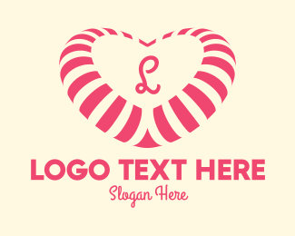 Candy Factory - Pink Heart Candy Lettermark logo design