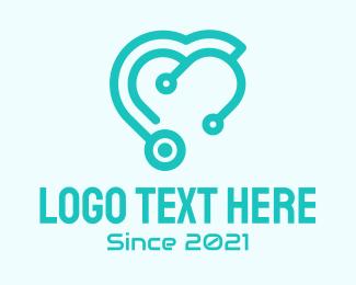 Hospital Care - Medical Stethoscope Heart logo design