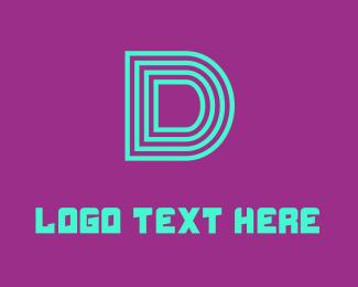 Duke - Neon Blue Letter D logo design