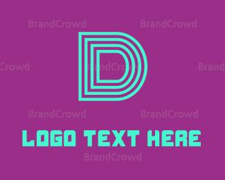 Aqua - Neon Blue Letter D logo design