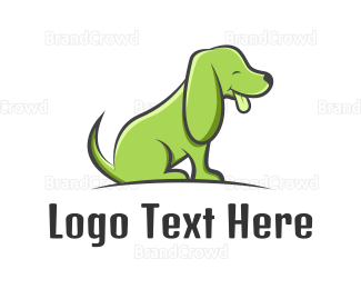 Dachshund - Green Cartoon Dog logo design