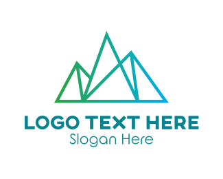 Alps - Thin Gradient Mountain Line logo design