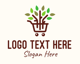 Healthy Product - Gardening Shopping Cart logo design