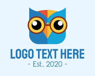 Knowlegde - Blue Smart Owl Mascot logo design