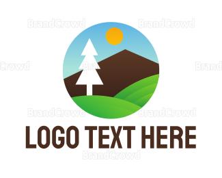 Climber - Geometric Tree Landscape logo design