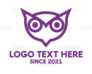 Watching - Black Owl Outline logo design