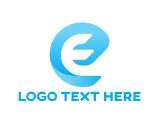 Text - Blue Letter E logo design