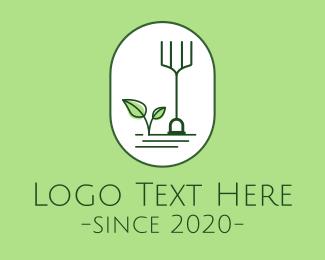 Simple Gardening Rake Leaf Logo