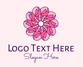 Bloom - Pink Flower Pattern logo design