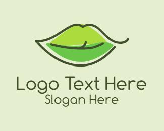 Lips - Green Leaf Lip logo design