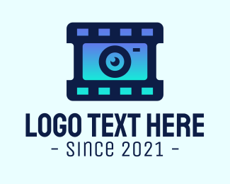 Camera Lens - Film Strip Lens logo design