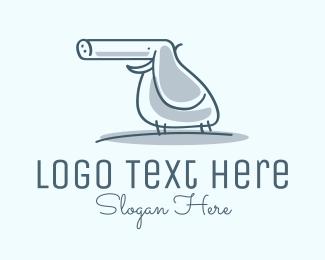 Funny - Elephant Gun Line Art logo design