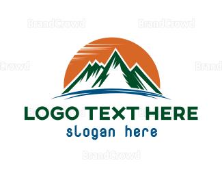 Everest - Orange Sun Mountain logo design