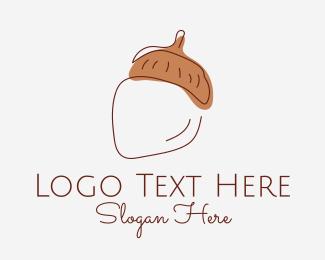 Oak - Acorn Nut Minimal logo design