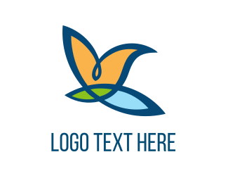 Fast - Bird Flower logo design